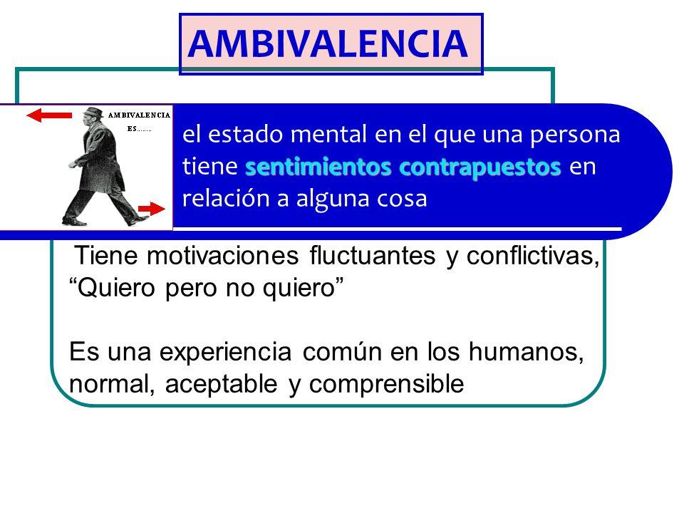 AMBIVALENCIA el estado mental en el que una persona tiene sentimientos contrapuestos en relación a alguna cosa.