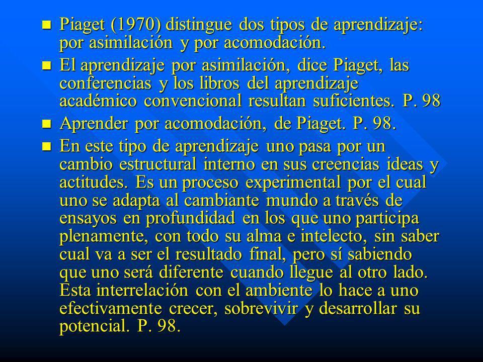 Piaget (1970) distingue dos tipos de aprendizaje: por asimilación y por acomodación.