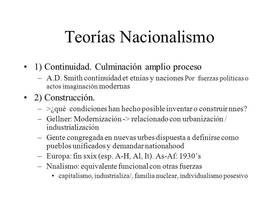 Teorías Nacionalismo 1) Continuidad. Culminación amplio proceso