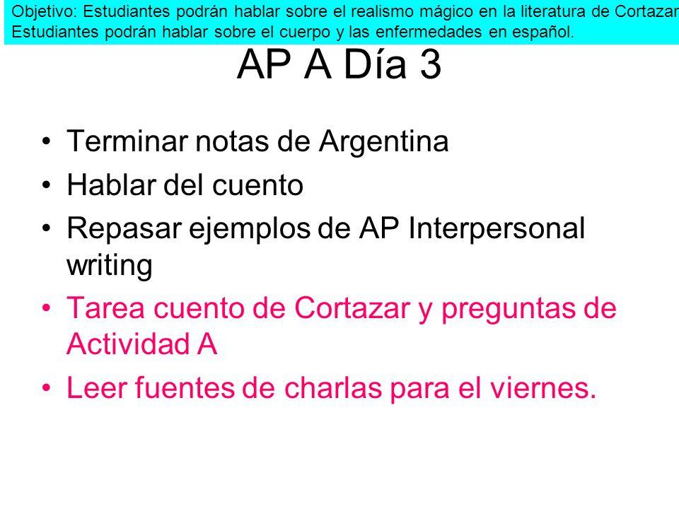 AP A Día 3 Terminar notas de Argentina Hablar del cuento