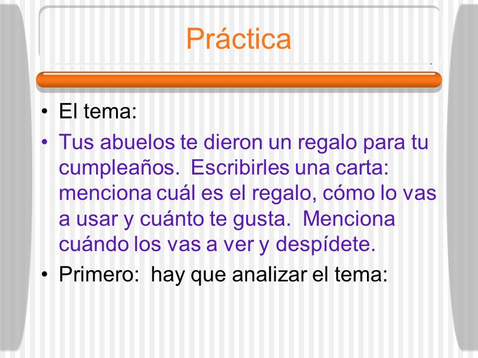 Práctica El tema: