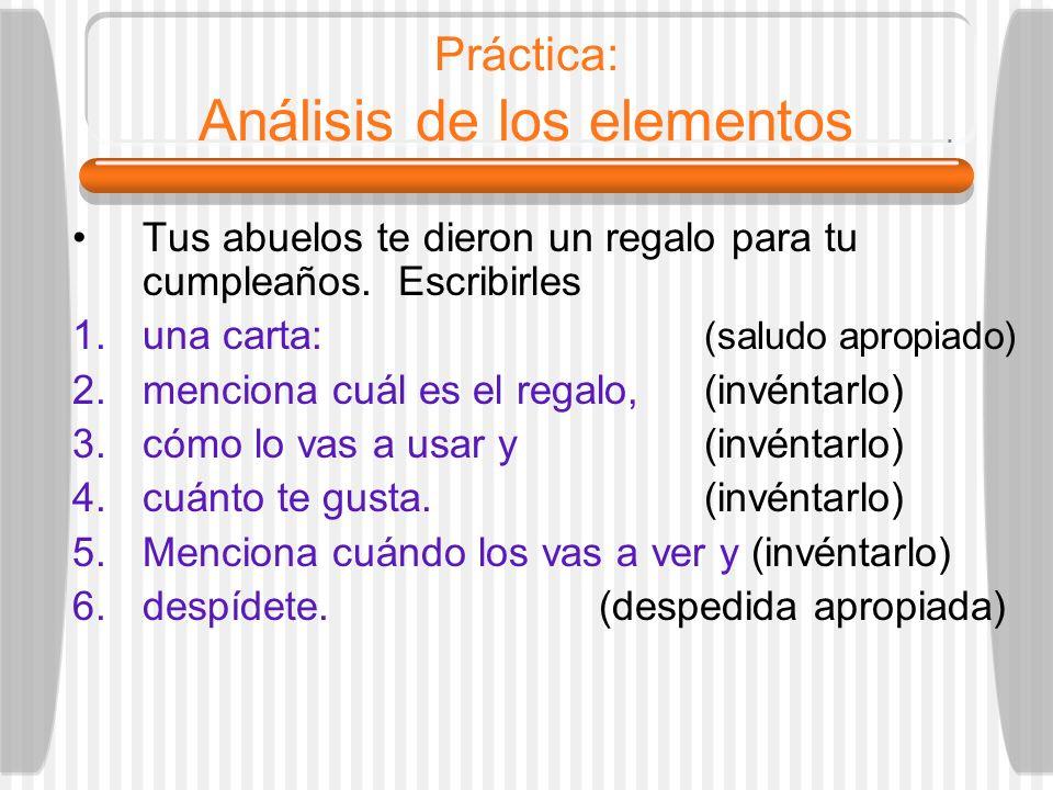 Práctica: Análisis de los elementos