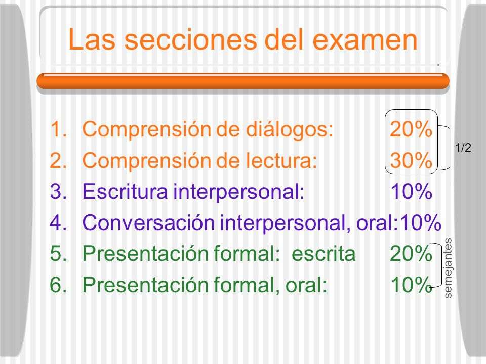 Las secciones del examen