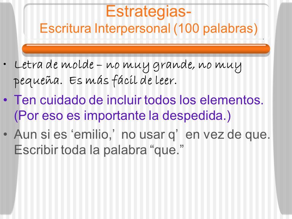 Estrategias- Escritura Interpersonal (100 palabras)