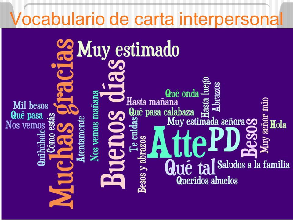 Vocabulario de carta interpersonal