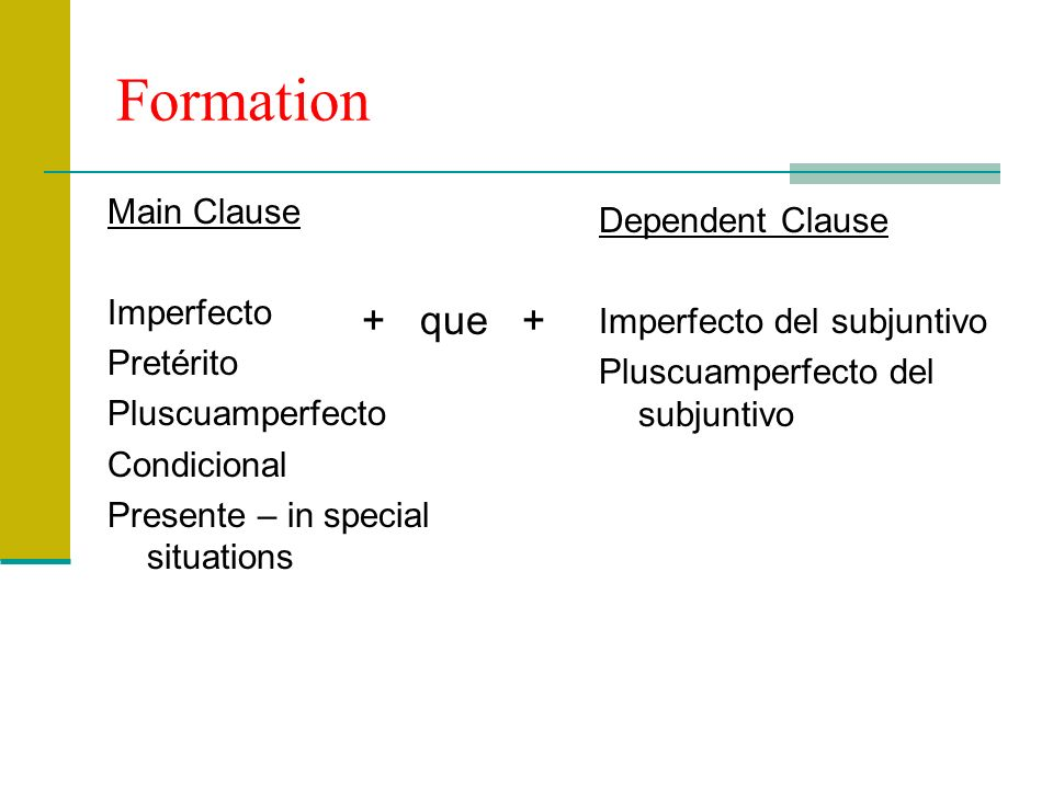 Formation + que + Main Clause Dependent Clause Imperfecto