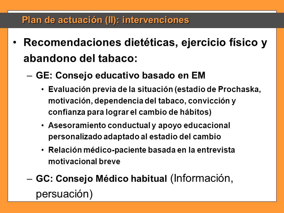 Recomendaciones dietéticas, ejercicio físico y abandono del tabaco: