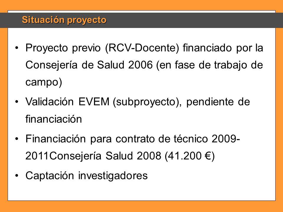 Validación EVEM (subproyecto), pendiente de financiación