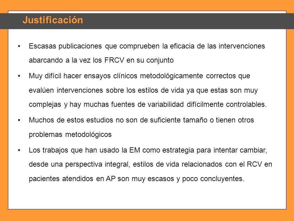 JustificaciónEscasas publicaciones que comprueben la eficacia de las intervenciones abarcando a la vez los FRCV en su conjunto.