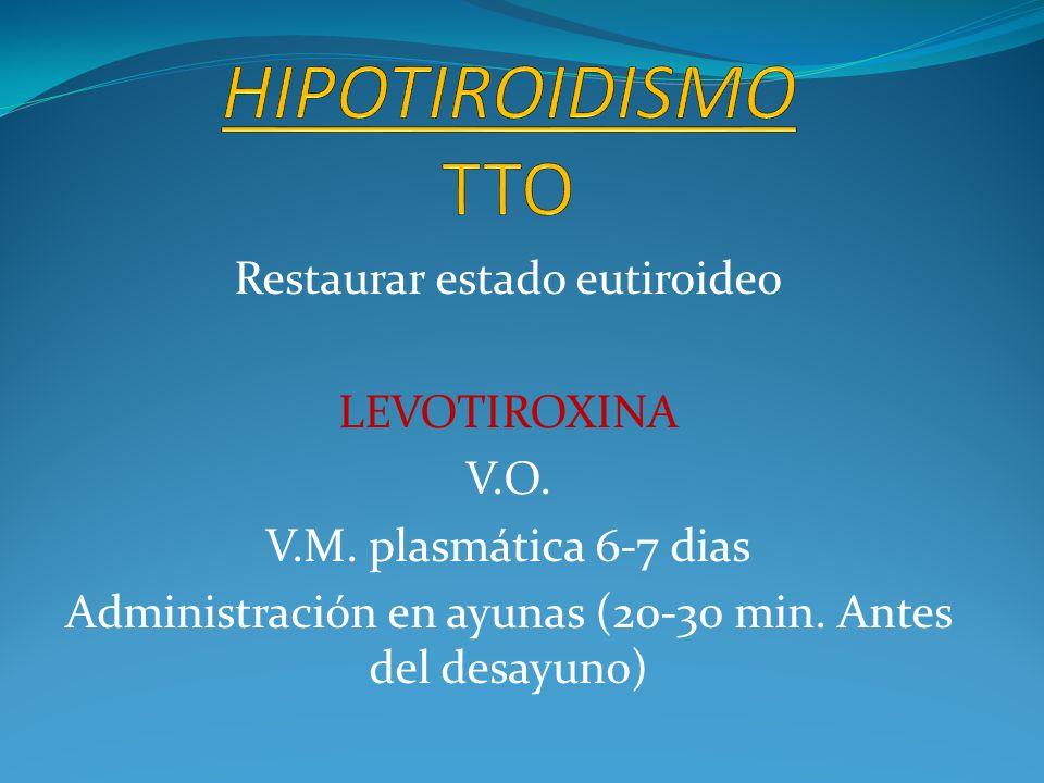 HIPOTIROIDISMO TTO Restaurar estado eutiroideo LEVOTIROXINA V.O.