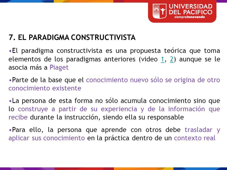 7. EL PARADIGMA CONSTRUCTIVISTA