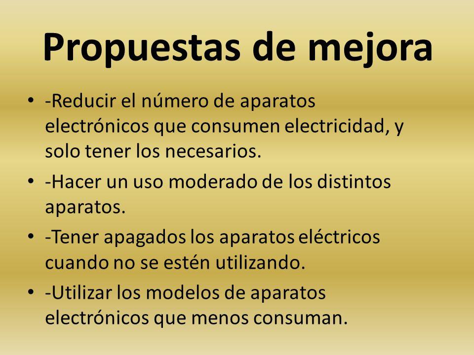 Propuestas de mejora -Reducir el número de aparatos electrónicos que consumen electricidad, y solo tener los necesarios.
