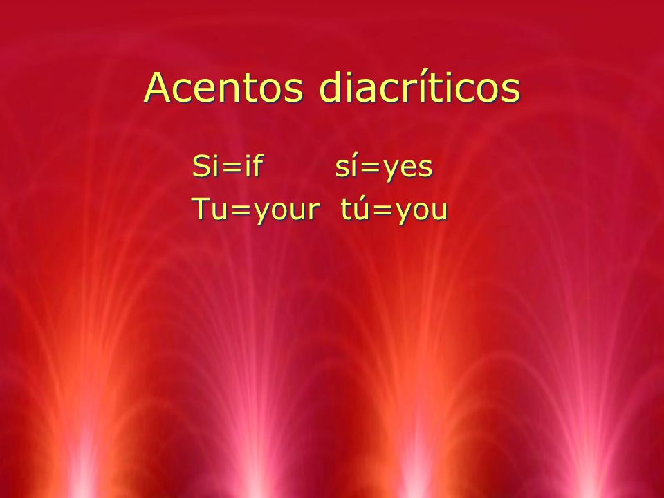 Acentos diacríticos Si=if sí=yes Tu=your tú=you
