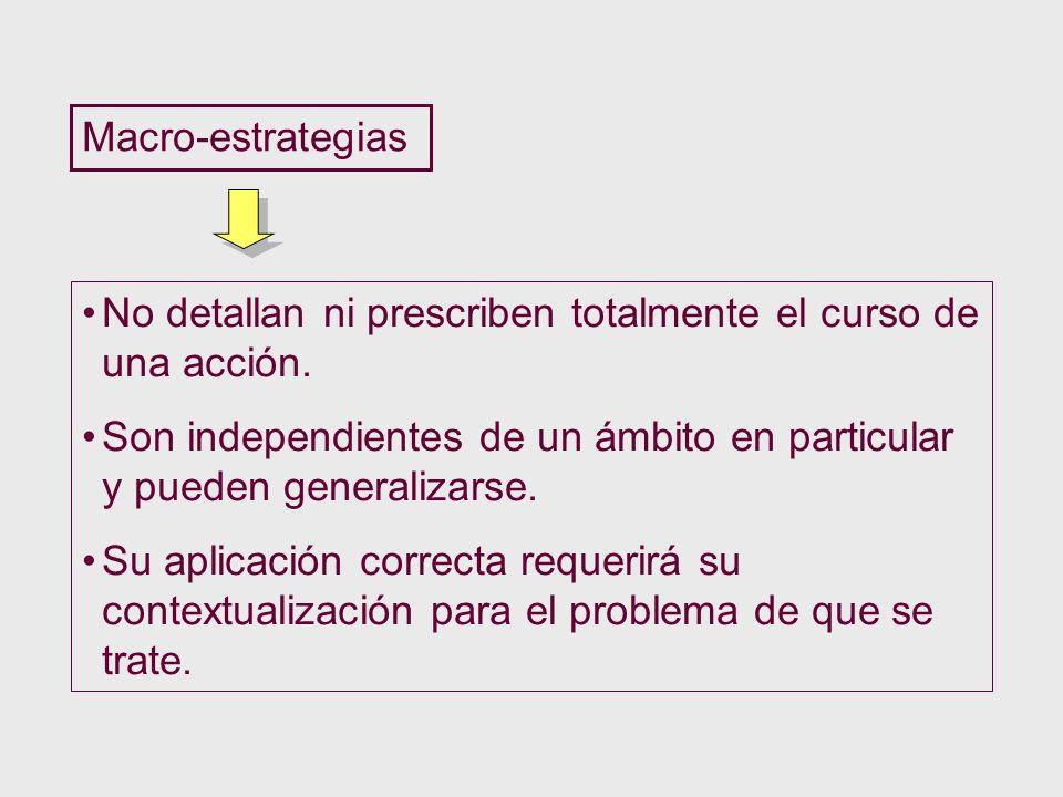 Macro-estrategias No detallan ni prescriben totalmente el curso de una acción. Son independientes de un ámbito en particular y pueden generalizarse.
