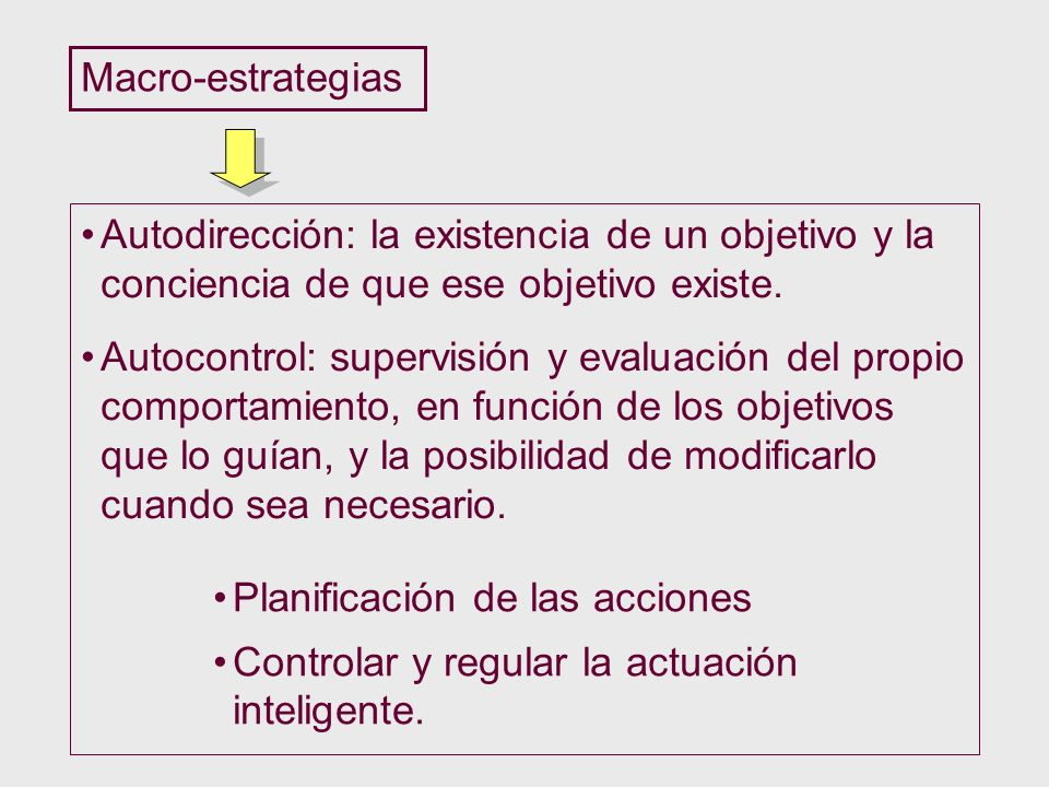 Macro-estrategias Autodirección: la existencia de un objetivo y la conciencia de que ese objetivo existe.