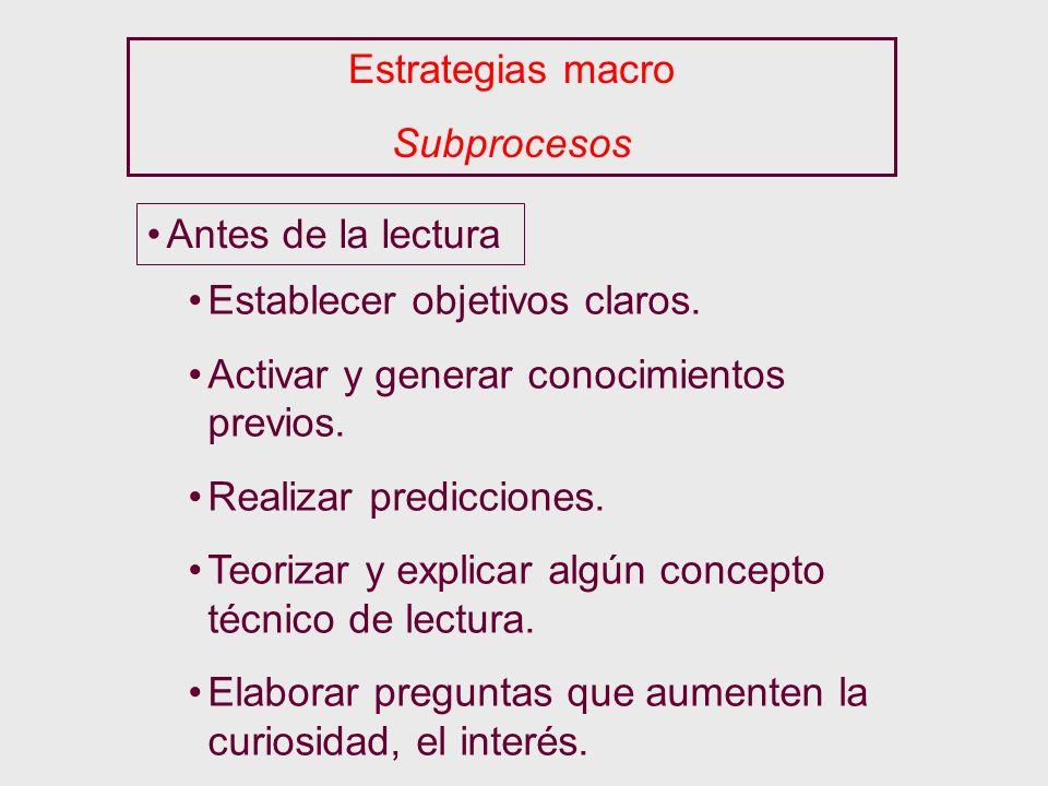 Estrategias macro Subprocesos. Antes de la lectura. Establecer objetivos claros. Activar y generar conocimientos previos.