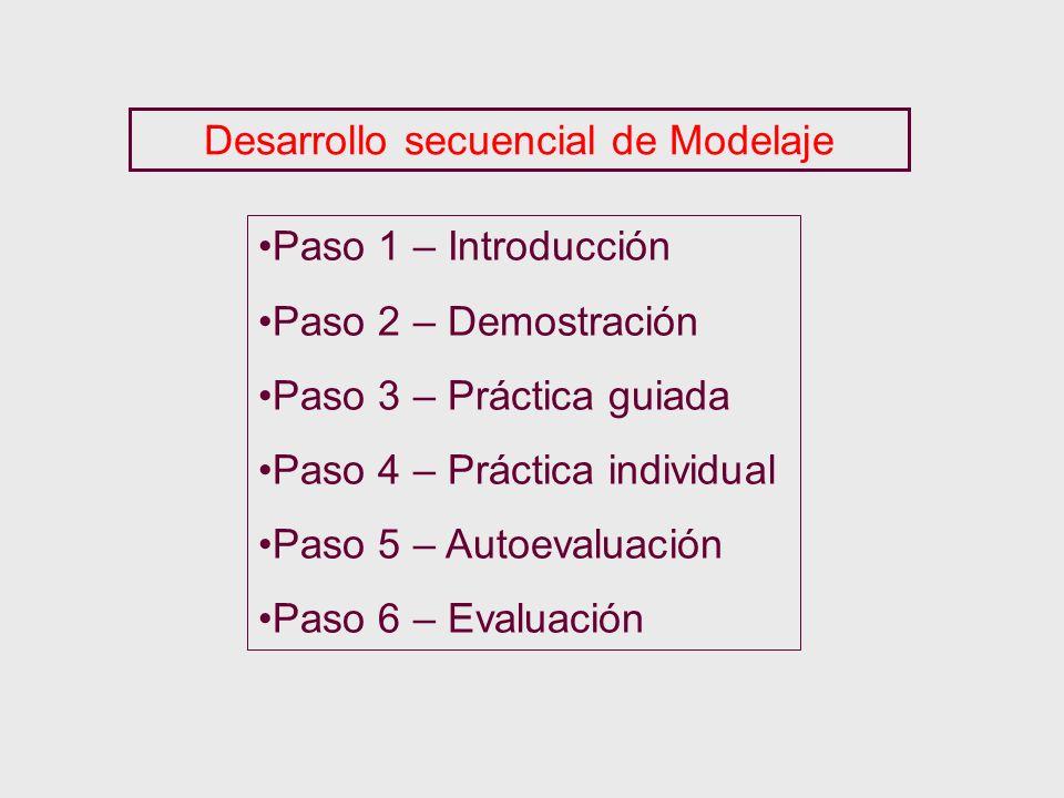 Desarrollo secuencial de Modelaje