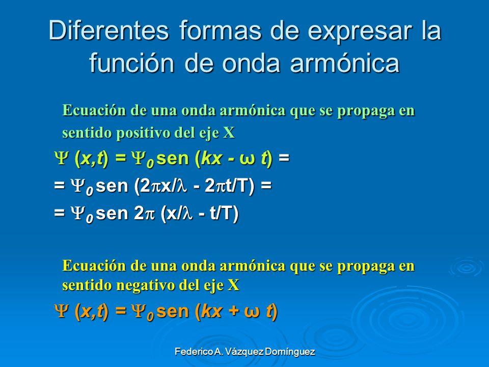 Diferentes formas de expresar la función de onda armónica
