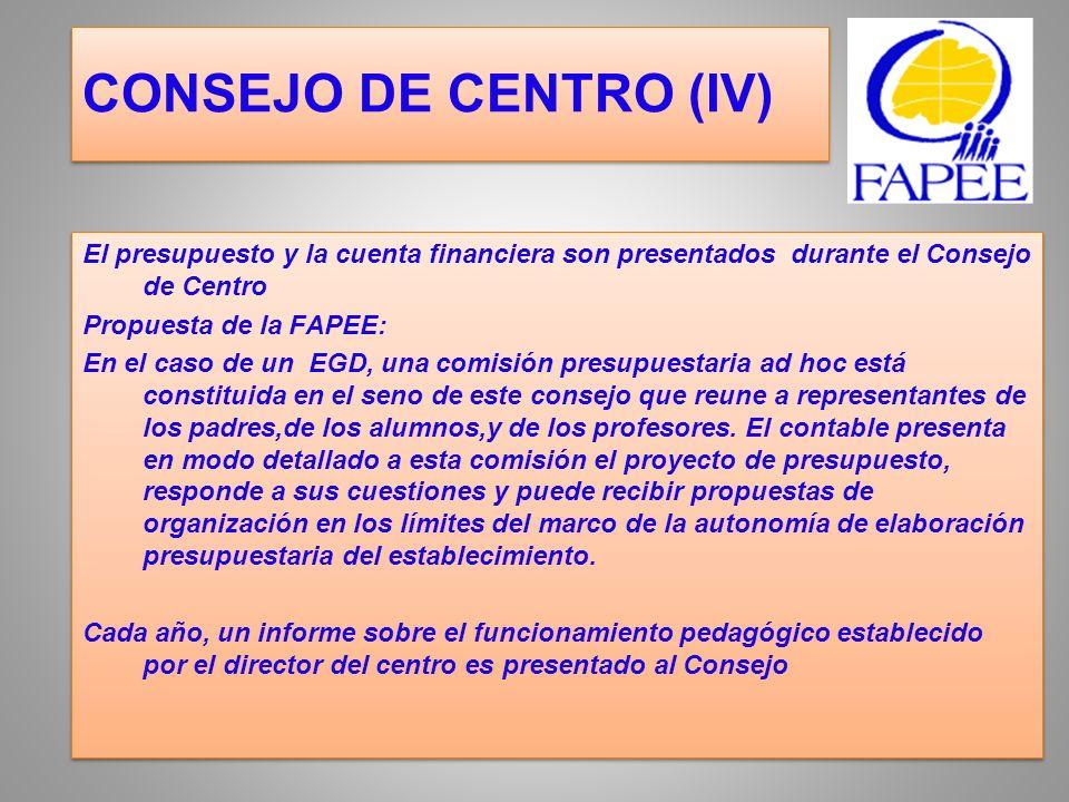 CONSEJO DE CENTRO (IV)