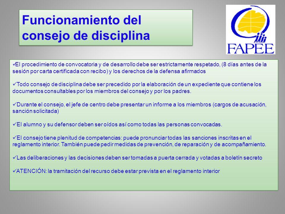 Funcionamiento del consejo de disciplina