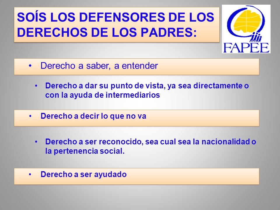 SOÍS LOS DEFENSORES DE LOS DERECHOS DE LOS PADRES: