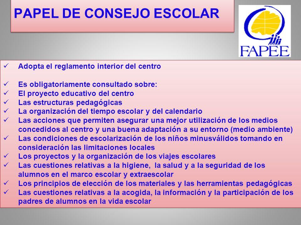 PAPEL DE CONSEJO ESCOLAR