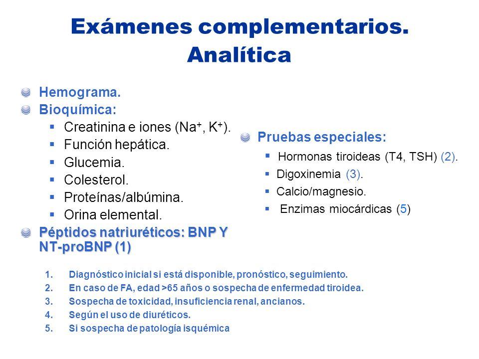 Exámenes complementarios. Analítica