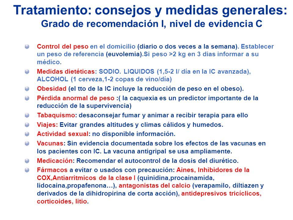 Tratamiento: consejos y medidas generales: Grado de recomendación I, nivel de evidencia C