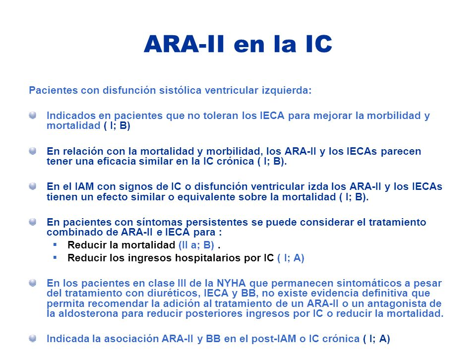 ARA-II en la IC Pacientes con disfunción sistólica ventricular izquierda: