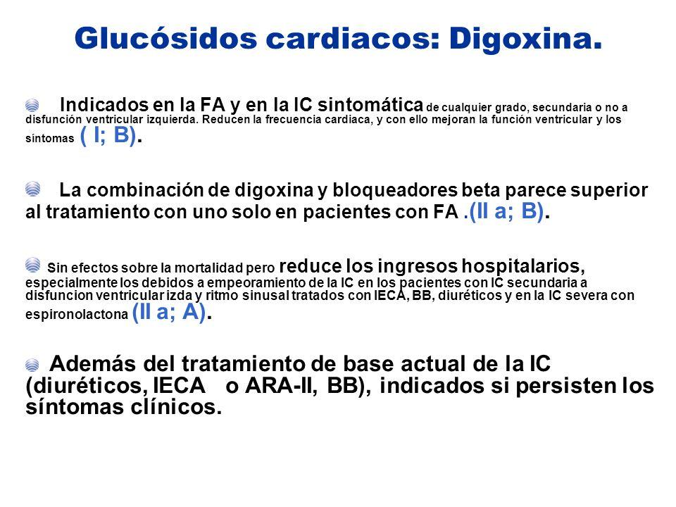 Glucósidos cardiacos: Digoxina.