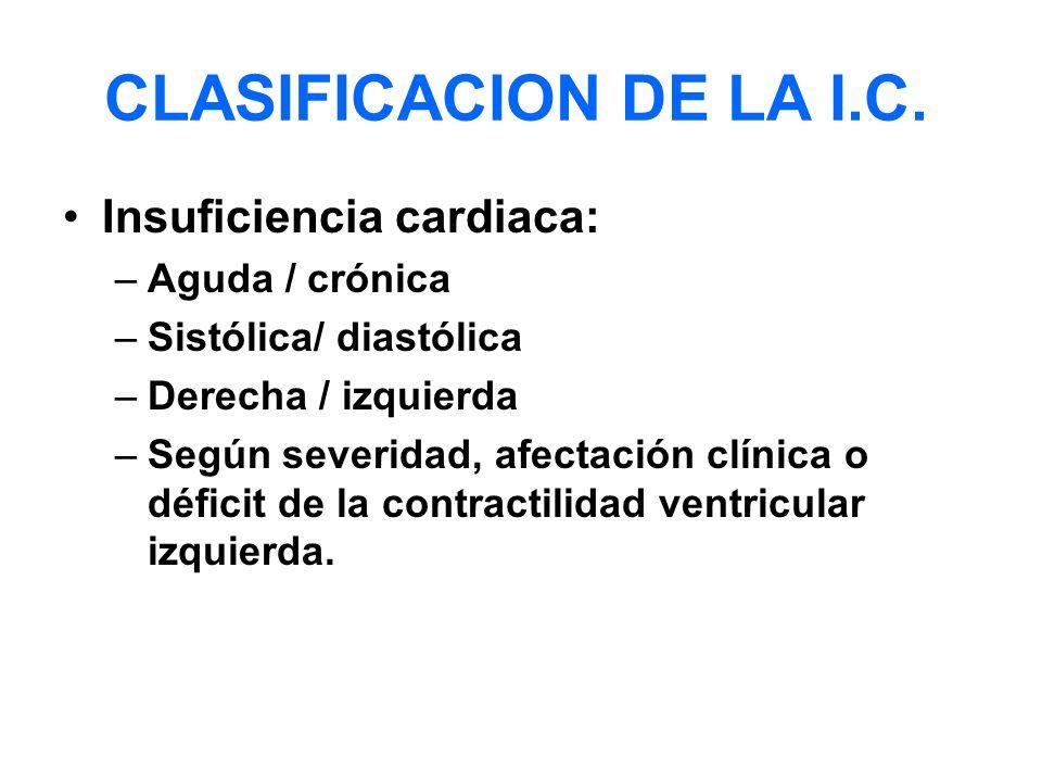 CLASIFICACION DE LA I.C. Insuficiencia cardiaca: Aguda / crónica