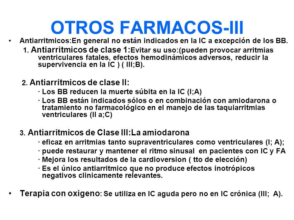 OTROS FARMACOS-III Antiarritmicos:En general no están indicados en la IC a excepción de los BB.