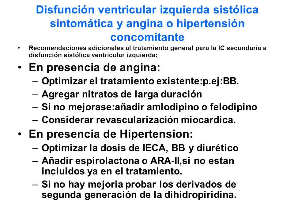 En presencia de angina: