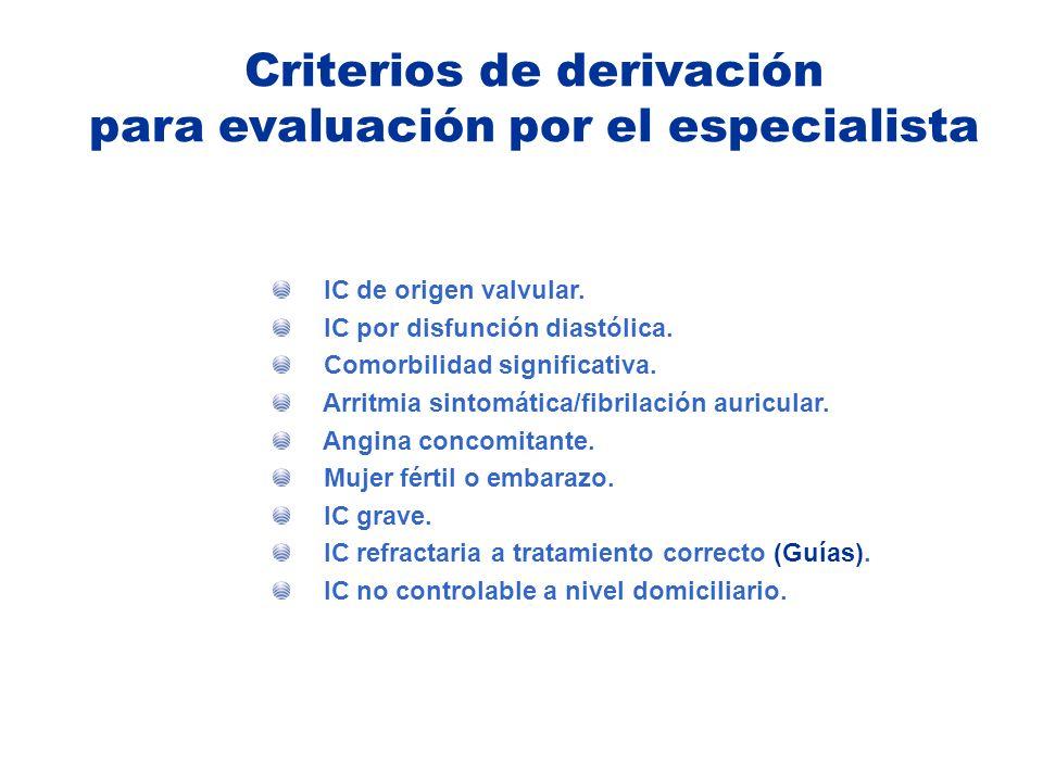 Criterios de derivación para evaluación por el especialista