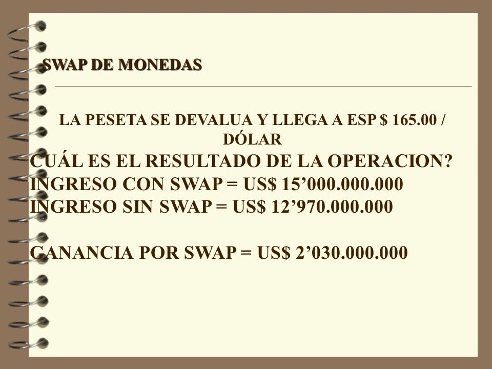LA PESETA SE DEVALUA Y LLEGA A ESP $ 165.00 / DÓLAR