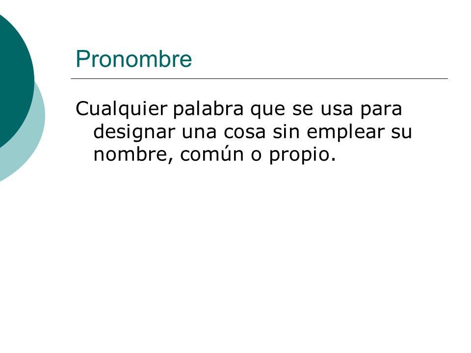 Pronombre Cualquier palabra que se usa para designar una cosa sin emplear su nombre, común o propio.