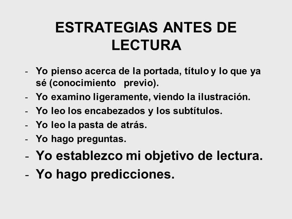 ESTRATEGIAS ANTES DE LECTURA