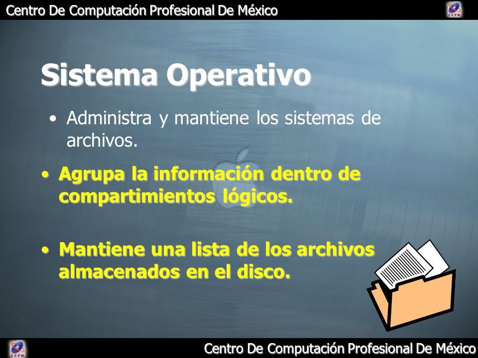 Sistema Operativo Administra y mantiene los sistemas de archivos.