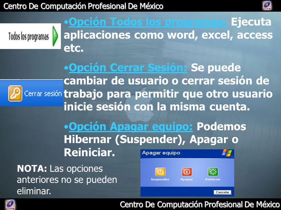 Opción Todos los programas: Ejecuta aplicaciones como word, excel, access etc.