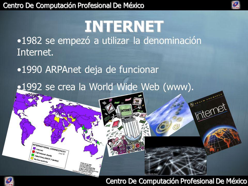 INTERNET 1982 se empezó a utilizar la denominación Internet.