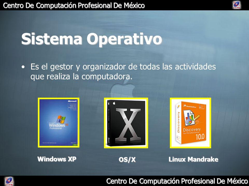 Sistema Operativo Es el gestor y organizador de todas las actividades que realiza la computadora. Windows XP.