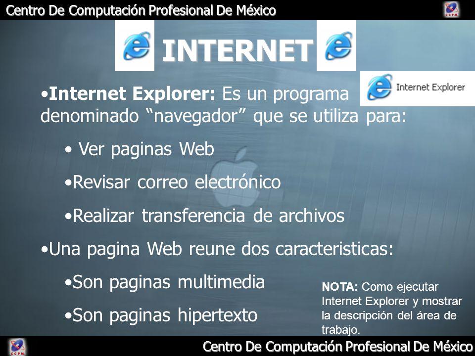 INTERNET Internet Explorer: Es un programa denominado navegador que se utiliza para: Ver paginas Web.