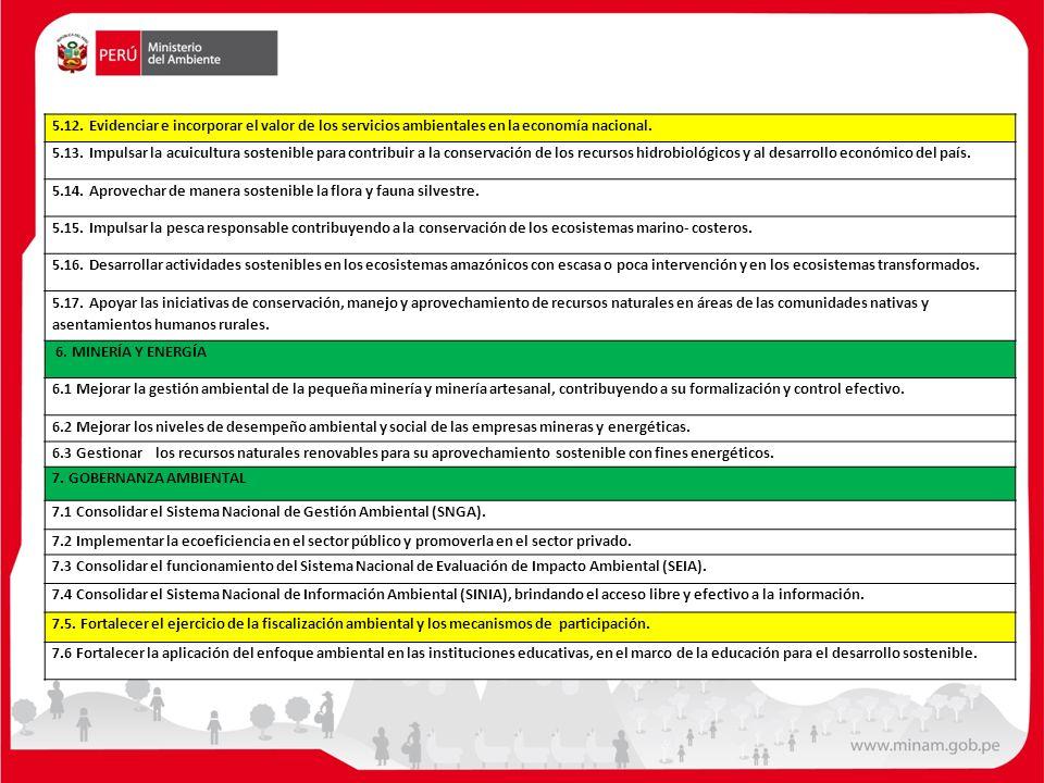 5.12. Evidenciar e incorporar el valor de los servicios ambientales en la economía nacional.