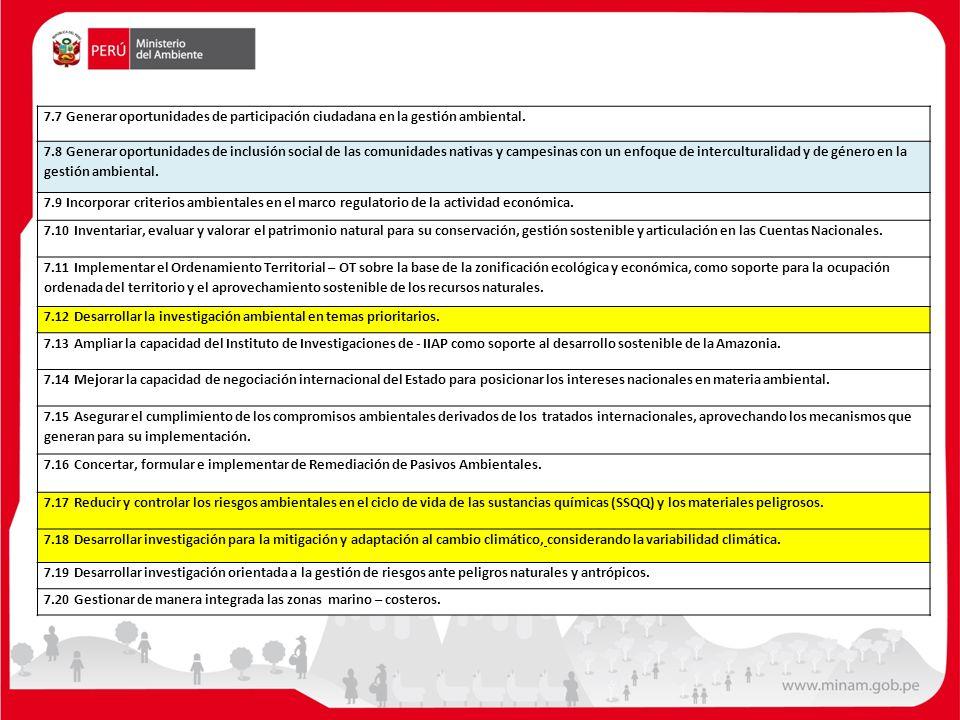 7.7 Generar oportunidades de participación ciudadana en la gestión ambiental.