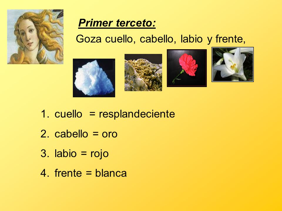Primer terceto:Goza cuello, cabello, labio y frente, cuello = resplandeciente. cabello = oro. labio = rojo.
