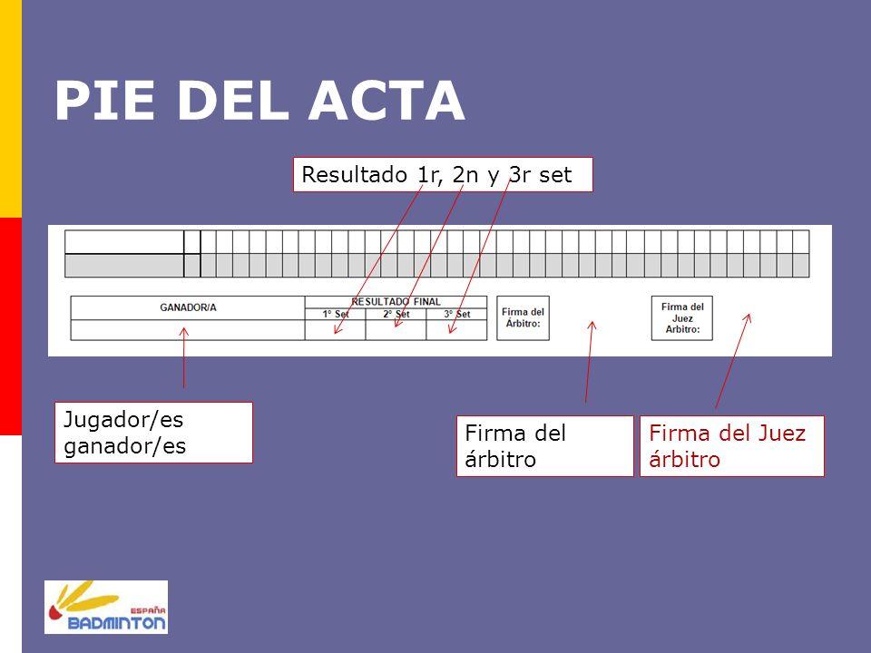 PIE DEL ACTA Resultado 1r, 2n y 3r set Jugador/es ganador/es