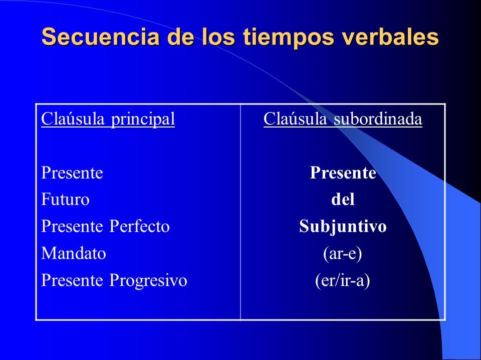 Secuencia de los tiempos verbales