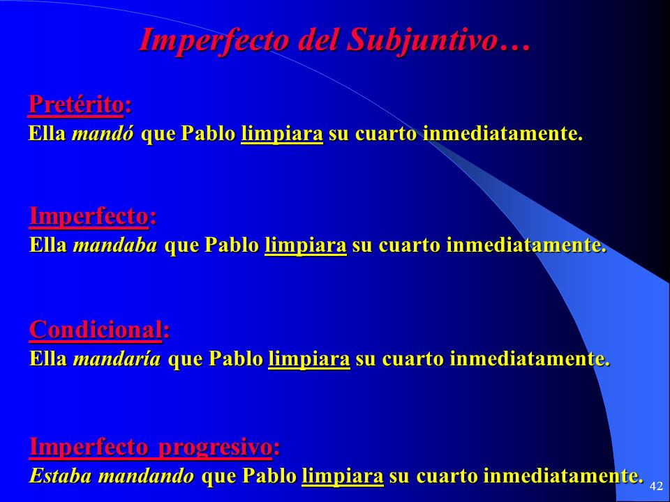 Imperfecto del Subjuntivo…