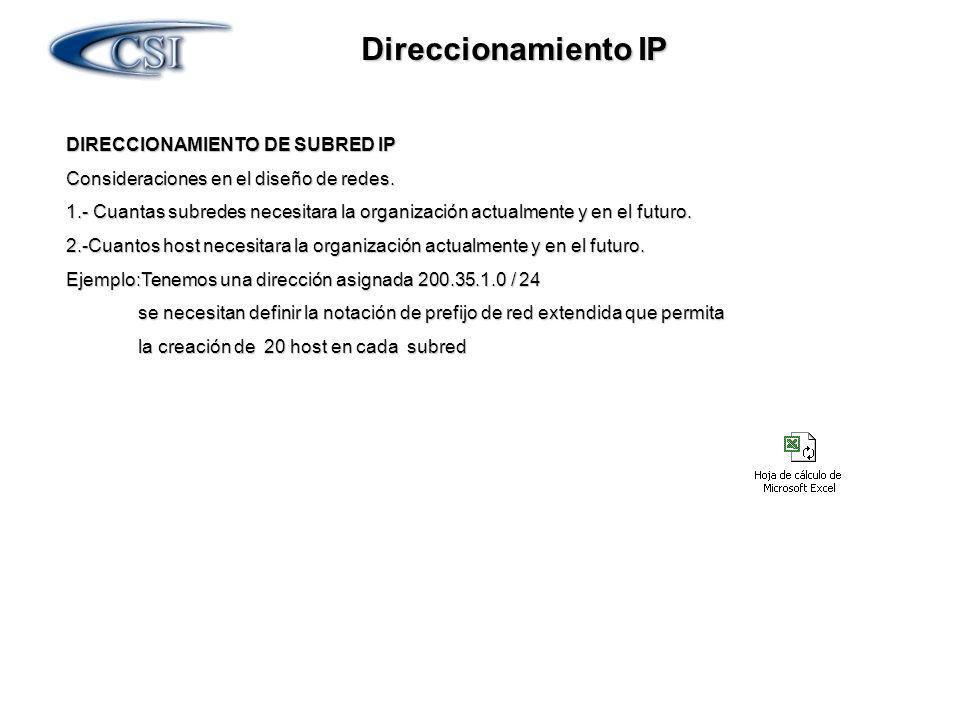 Direccionamiento IP DIRECCIONAMIENTO DE SUBRED IP