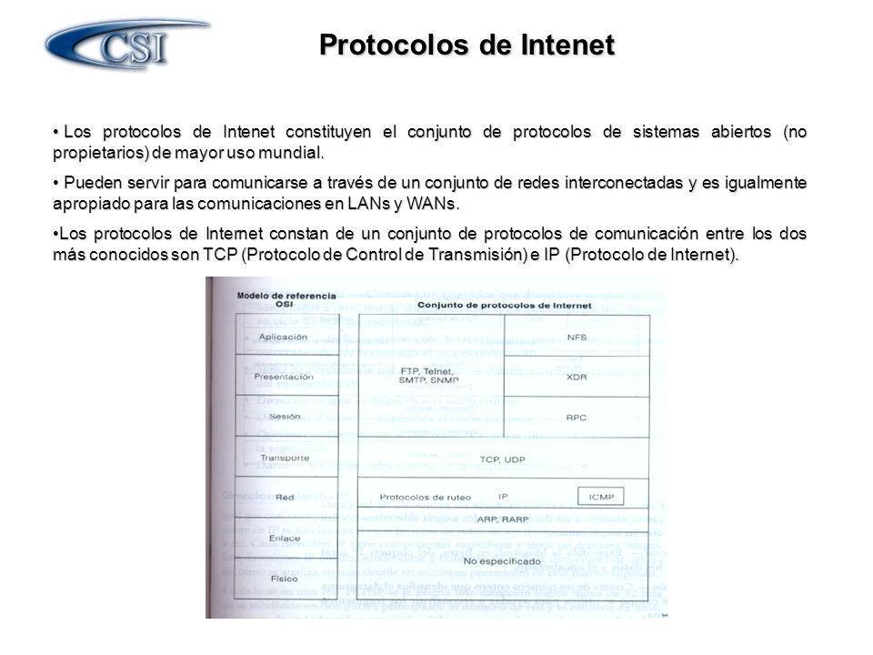 Protocolos de Intenet Los protocolos de Intenet constituyen el conjunto de protocolos de sistemas abiertos (no propietarios) de mayor uso mundial.